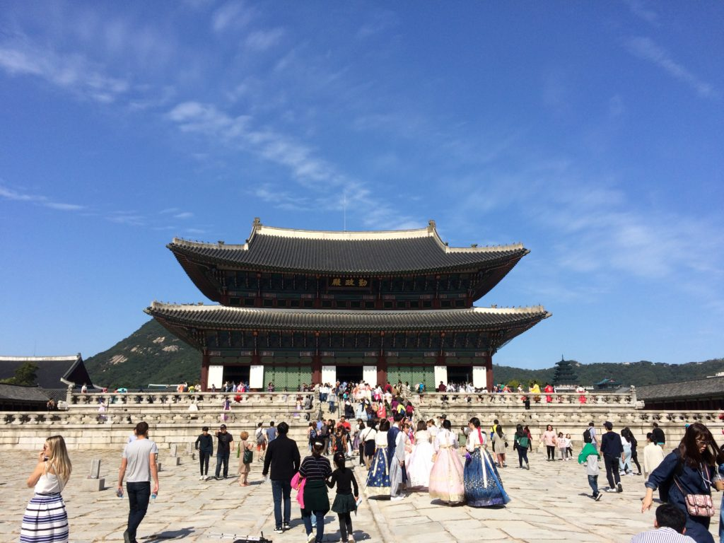Gwanghwamun-gate-royal-palace-seoul-south-korea-changing-of-the-guards-ceremony-honbok-traditional-clothes-throne-room-blue-house-gyeongbokgung-palace