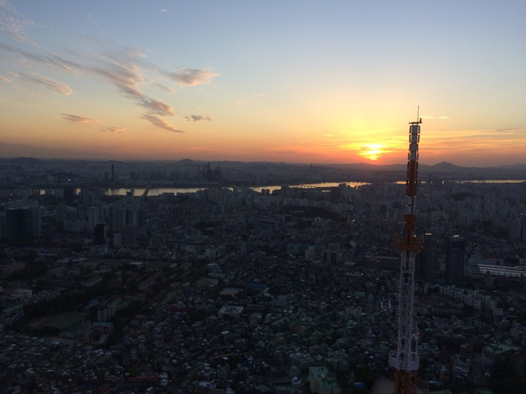 Namsan-mountain-n-seoul-tower-seoul-skyline-view-south-korea-love-lock-bridge-sunset-city-starlit-tall-building-skyscraper-observation-deck-cable-car